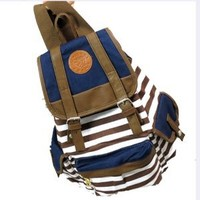 Hunnt Brown Canvas Backpack School Bag Super Cute Stripe for School Laptop Bag Waterproof