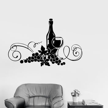 Vinyl Decal Wine Alcohol Drink Kitchen Decor Restaurant Wall Stickers (ig2616)