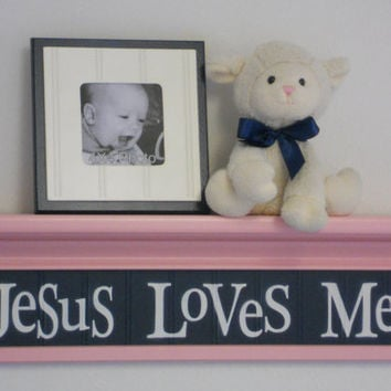 "Navy and Pink Baby Girl Nursery Wall Decor - Jesus Loves Me - Sign on 24"" Pastel Pink Shelf - Unique Baby Shower Gift"
