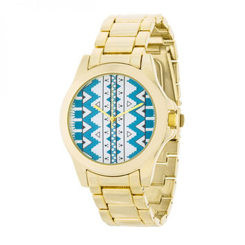 Gold Watch - Blue Stripe