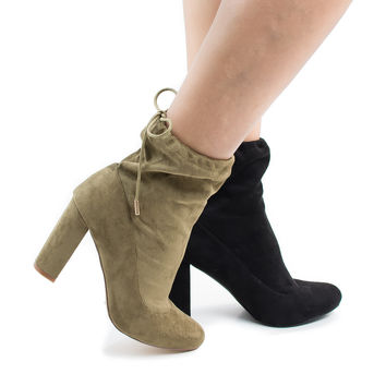 Kenzy3 by Liliana, Drawstring Chunky High Heel Ankle Boots