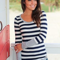 Gray Striped Top With Buttons
