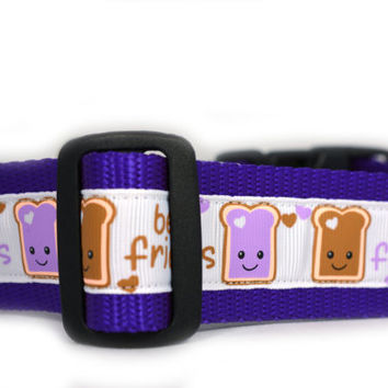 PB&J BFF Dog Collar , 1.5 inch wide, Peanut Butter and Jelly Friends, 4 sizes, white, purple, friends, buddies, sweet, girly, toast