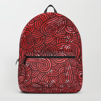 Red and black swirls doodles Backpacks by Savousepate
