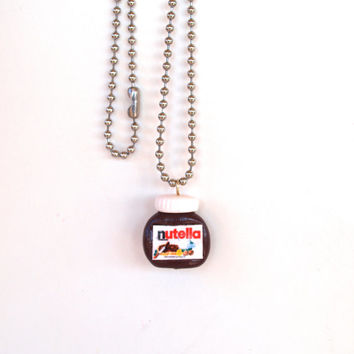 Nutella Necklace, Polymer Clay Miniature Food Jewelry, Nutella Fan, Tiny Nutella Pendant, Perfect Gift for Nutella's Fan