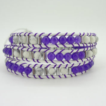 3 Wrap dark purple  crystal  White Turquoise Bead rope Charm Chain Bracelet