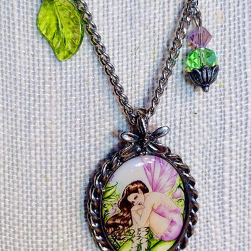 Fairy Necklace, Fairy Jewelry, Brunette Fairy, Pink Fairy, Green Fairy, Leaf Jewelry, Crystal Jewelry, Pink Jewelry, Green Jewelry
