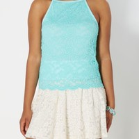 Turquoise Lace High Neck Tank | Going Out Tank Tops | rue21