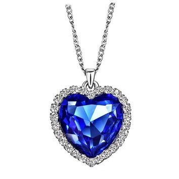 DCCKV2S Neoglory Crystals Heart Necklaces & Pendants for Women Fashion Jewelry Birthday Best Friends Gifts Two Sizes