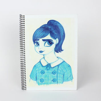 60's Inspired Blue Girl Illustrated Handmade Ruled Notebook A5 | Spiral Journal, Wirebound,Writing Diary, Vintage Fashion Original Character