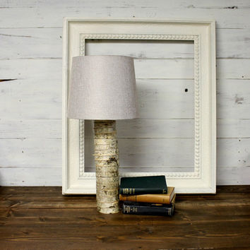 Tall Rustic Birch Wood Lamp - Rustic Lamp - Woodland Decor - Nursery Lamp - Wood lamp - Cabin Decor - Farmhouse Lamp - Birch Slice Lamp