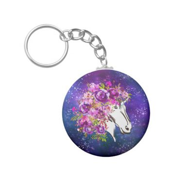 Modern Chic Violet Floral Magical Unicorn Keychain