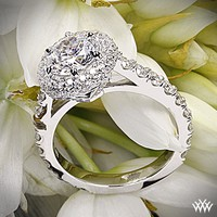 "18k White Gold ""Rounded Pave Halo"" Diamond Engagement Ring"