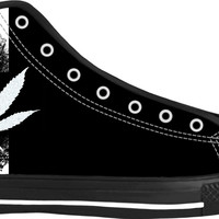 420 white ganja leaf and three stripes black high tops, weed themed shoes