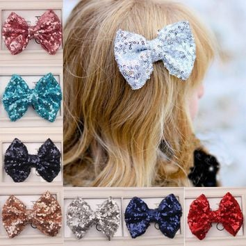 Hot 1PC Girl Baby Kids Sequin Bowknot Hairpin Hair Clip shiny Toddlers Headwear Fashion Hair Jewelry
