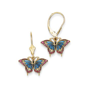 Blue Translucent Acrylic Butterfly Dangle Earrings in 14k Yellow Gold