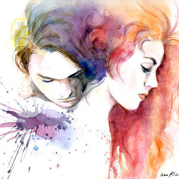Watercolor painting - Jack and Rose - Titanic movie poster