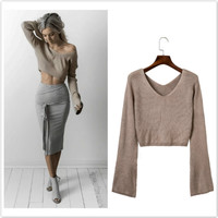 Sexy Khaki Long Sleeve Crop Top Sweater