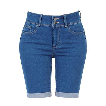 High Rise 5 Pocket Style Push Up Denim Jean Bermuda Shorts