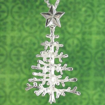 Natural Christmas Tree Necklace With Snowy Branches