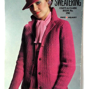 Classic Womens Sweater Patterns Crochet Knitting Leaflet Red Heart Vintage 1980