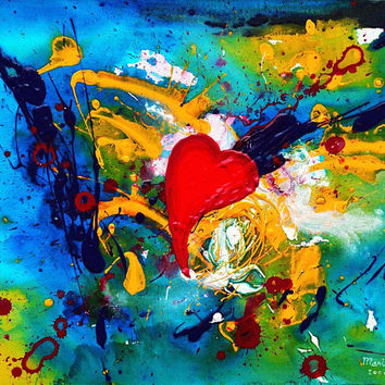 Original painting on canvas, colorful abstract acrylic painting on canvas, abstract painting, colorful wall art, heart painting- Passion