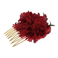 Dolce & Gabbana Red Silk Rose Garofani Gold Runway Hair Comb Stick