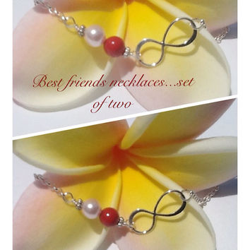 Best friend infinity necklaces. Set of two. Swarovski pearl birthstones. Birthstone necklace. Gift for BFF. Sisters necklace