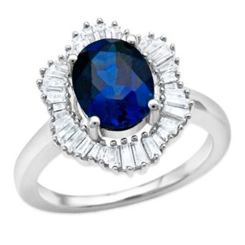 Sterling Silver 2.4 cttw Created Blue and White Sapphire Baguette Ladies' Frame Ring