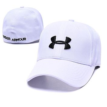 Under Armour Newest Women Men Embroidery Sports Sun Hat Baseball Cap Hat White