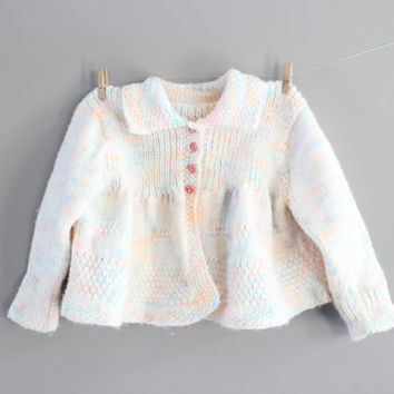 Hand Knitted Baby Girl Cardigan Mixed Colour Baby Girl Matinee Coat Naming Day Outfit, Handmade Cardigan Size 0 to 6 months
