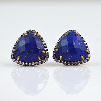 Lapis stud Earrings, White Topaz pave studs, triangle studs, triangle earrings, September Birthstone, pave earrings, pave jewelry, lapis
