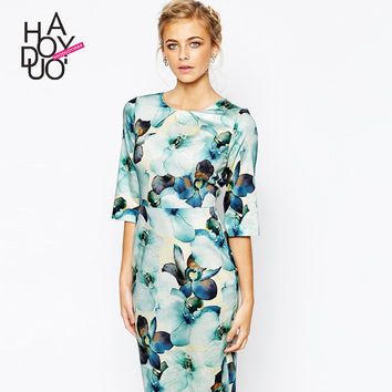Blue Floral Print Sleeve Dress