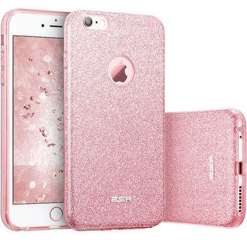 "iPhone 6 Plus Case, iPhone 6S Plus Case, ESR Luxury Glitter Sparkle Crystal Bling Designer Case [Slim Fit, Hard Back Cover] Shining Fashion Style for Apple iPhone 6 Plus/6s Plus 5.5"" (Rose Gold)"