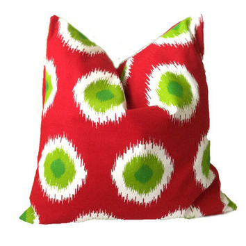 Christmas Pillow Covers - Red Green Ikat Pillow, One, 16 x 16, 18 x 18, Lumbar pillow, Christmas Polka Dot Pillow, Christmas Domino,