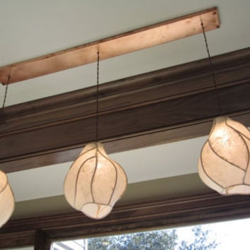 Chandelier Lighting - Firefly Lantern Chandelier - Copper Sculpture and Paper Lanterns with Rectangular Copper Canopy - Farmhouse Rustic