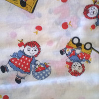 Raggedy Ann & Andy Vintage Novelty Print Cotton Fabric 3 Yards X0285 Farm, Orchard