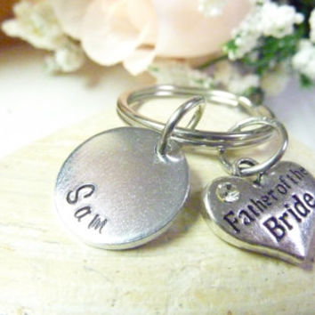 Father of the Bride Gift Father of the Groom Gift Handstamped keychain Personalized Father Gift Dad Gift