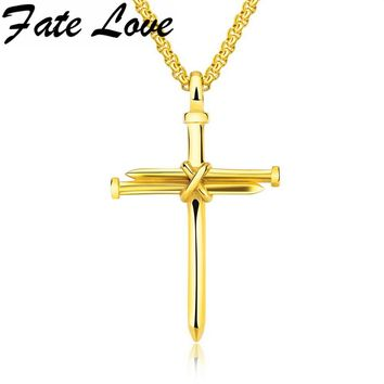 Fate Love Fashion Cross Men Necklace Jewelry Boys Gifts Pendant Necklace Gold/Silver Color Stainless Steel Male Necklace GX1258