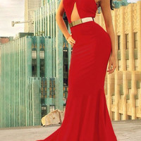 Red Halter Cut Out Solid Color Dress