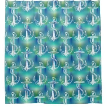 Vintage Anchor Blue Aqua Shower Curtain