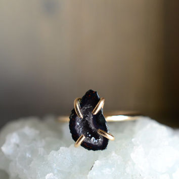 Dark Blue Miniature Geode Ring. Raw Navy Blue Stone on 14k Gold Fill. Natural Druzy Baby Tabasco Geode Stone Ring. Promise Ring