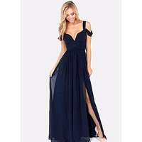 High Slit Ruffle Open Front Maxi Dress