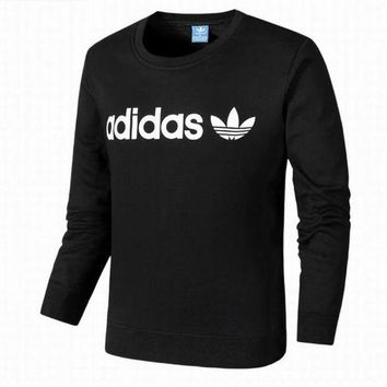 PEAPIH3 Adidas Clover Tide brand men and women fashion plus cashmere sweater Black