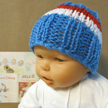 Knitted Baby Hat,  AFL Bulldogs Football Baby Beanie,  0 Months to 4 Years, Baby Shower Gift, Nchanted Gifts AFL Team Western Bulldogs