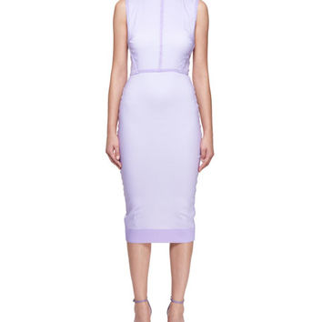 Victoria Beckham Sleeveless Crewneck Fitted Dress with Organza Overlay