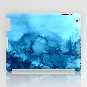 INTO ETERNITY, TURQUOISE Colorful Aqua Blue Watercolor Painting Abstract Art Floral Landscape Nature iPad Case by EbiEmporium