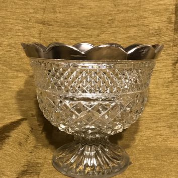 Antique Russian Lead Crystal With Sterling Silver Trim Pedestal Bowl