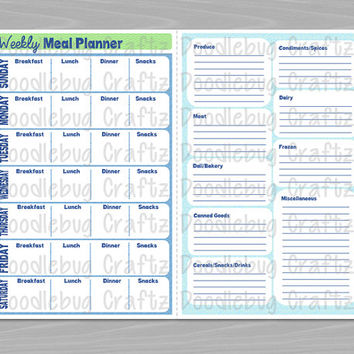 PRINTABLE - Weekly Meal Planner & Grocery List - Breakfast, Lunch, Dinner, Snacks - INSTANT DOWNLOAD - Organizer - Planner - The EasyLife