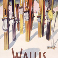 Wallis Winter Snow Ski Travel Ad Fine Art Print